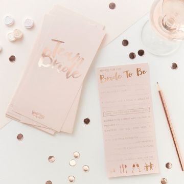 Pink and Rose Gold Advice for the Bride to be cards - pack of 10